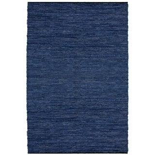 "Blue Matador Leather Chindi (30""x50"") Rug - 30"" x 50"""