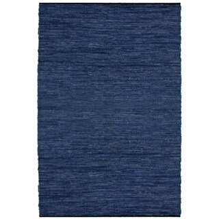 "Blue Matador Leather Chindi (21""x34"") Rug"