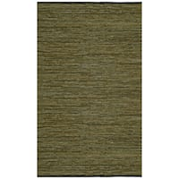 "Green Matador Leather Chindi (21""x34"") Rug - 21 x 34"