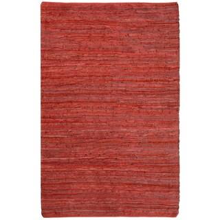 "Red Matador Leather Chindi (21""x34"") Rug"