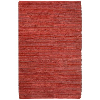 Red Matador Leather Chindi Rug - 21 x 34