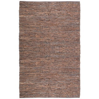 "Brown Matador Leather Chindi (21""x34"") Rug"