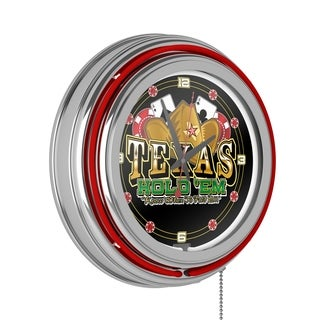 Texas Hold 'em Red Neon Clock - Joss & Main Exclusive