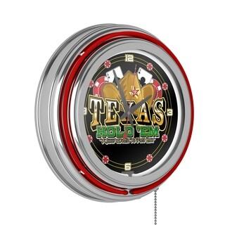 Texas Hold 'em Red Neon Clock - Joss & Main Exclusive