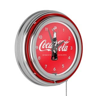 Coca-Cola Retro Neon Clock - 100th Anniversary of the Coca-Cola Bottle|https://ak1.ostkcdn.com/images/products/10655124/P17721668.jpg?impolicy=medium