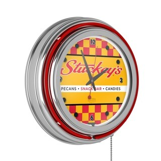Stuckeys Chrome Double Ring Neon Clock