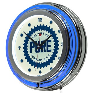 Pure Oil Chrome Double Rung Neon Clock