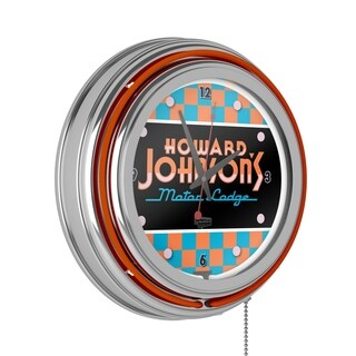 Howard Johnson Chrome Double Ring Neon Clock