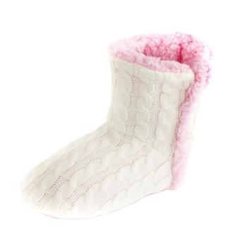 Leisureland Women's Knit Fleece Lined Solid Color Bootie Slippers