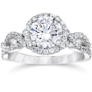 14k White Gold 2 1/4ct TDW Halo Round Clarity Enhanced Diamond Engagement Ring (H-I,I1-I2)