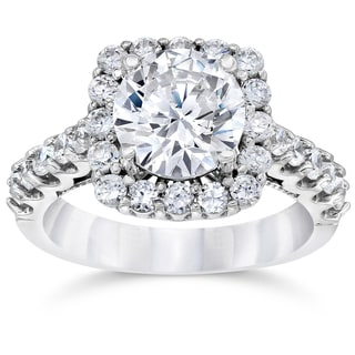 14k White Gold 3 1/4ct TDW Cushion Halo Round Clarity Enhanced Diamond Engagement Ring (H-I, I2-I3)
