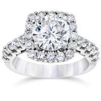 14k White Gold 3 1/4ct TDW Cushion Halo Round Clarity Enhanced Diamond Engagement Ring