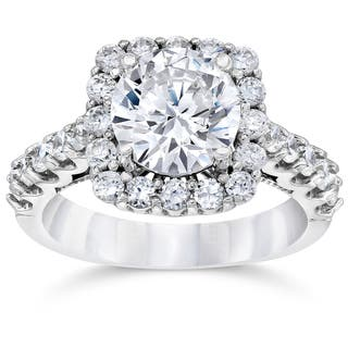14k white gold 3 14ct tdw cushion halo round clarity enhanced diamond engagement ring - 2 Carat Wedding Ring