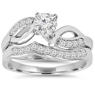 10k White Gold 3/4ct TDW Engagement Wedding Ring Set (I-J,I2-I3)