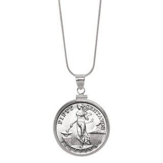 American Coin Treasures Silver Philippines 50 Centavos Sterling Silver Pendant Coin Jewelry
