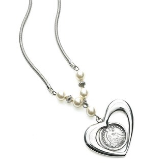 American Coin Treasures Seated Half-dime Heart Bezel Sterling Silver Necklace Coin Jewelry