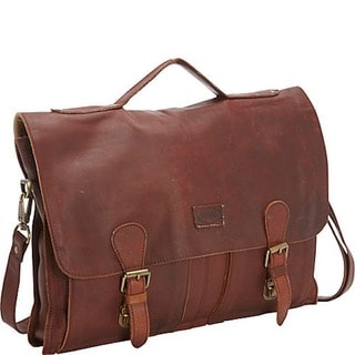 Sharo Extra wide Brown Soft Leather Laptop Computer Brief and Messenger Bag