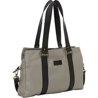 Sharo Soft Grey Leather Laptop Office Tote with Attachable Strap