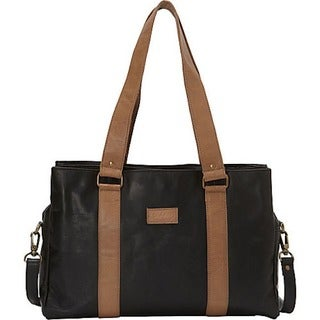 Sharo Black Spft Leather Laptop Computer Office tote with attachable strap