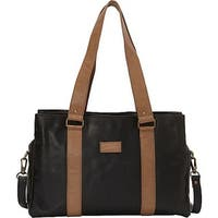 Sharo Black Soft Leather Laptop Computer Office Tote with Attachable Strap