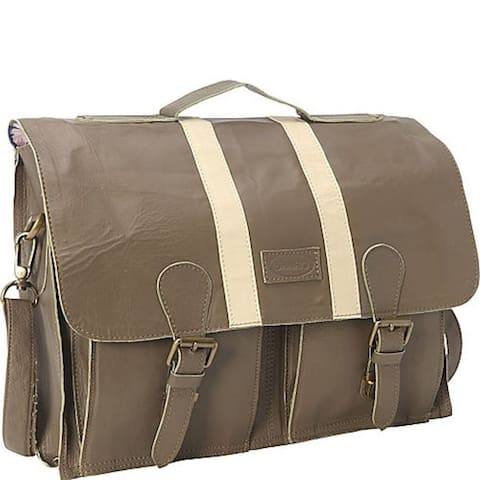 SharoTaupe Soft leather 16-inch Laptop Computer Brief and Messenger Bag