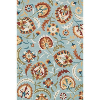 Hand-hooked Charlotte Blue/ Spice Floral Rug (2'3 x 3'9)