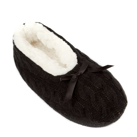 Leisureland Womens Knit Fleece Lined Solid Color Slippers