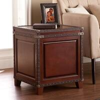 Harper Blvd Ailsa Dark Cherry/Espresso Faux Leather and Wood Trunk Side End Table