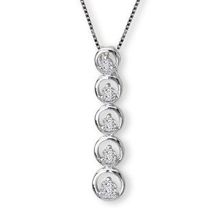 Avanti Sterling Silver Cubic Zirconia Linear Circle Journey Necklace