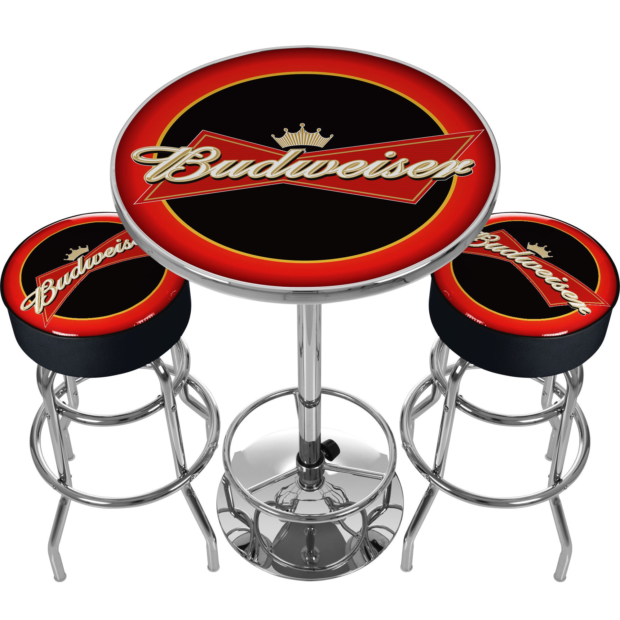 Ultimate Budweiser Gameroom Combo - 2 Bar Stools and Tabl...