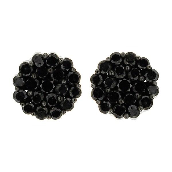 10k Black Gold 1 3/5ct TDW Round Black Diamond Composite Stud Earrings