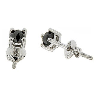 10k White Gold 1/3ct TDW Round Black Diamond Stud Earrings