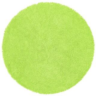 Green Shagadelic Chenille Twist (2'x2') Round Shag Rug