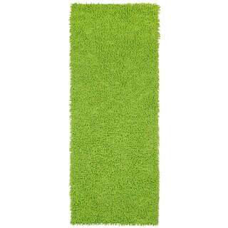 Green Shagadelic Chenille Twist (2'x5') Shag Runner - 2' x 5'
