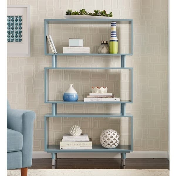 "Simple Living Margo Mid-Century 3-shelf Bookshelf - 59.5""h x 36""w x 11.8""d - Antique Blue"