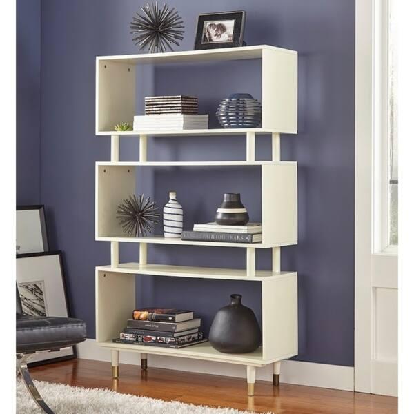 "Simple Living Margo Mid-Century 3-shelf Bookshelf - 59.5""h x 36""w x 11.8""d - Antique White"