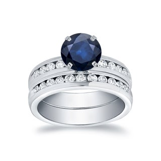 Auriya 14k White Gold 3/4ct Blue Sapphire and 3/4ct TDW Diamond Bridal Ring Set (H-I, SI1-SI2)