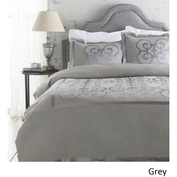Abdiel Geometric Linen/Polyester Duvet Cover