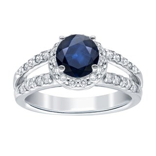 Auriya 14k White Gold 1ct Blue Sapphire and 1/2ct TDW Diamond Halo Ring (H-I, SI1-SI2)