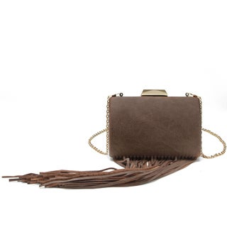 Pink Haley Chloe Fringe Box Clutch