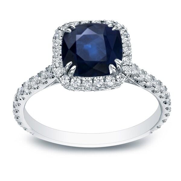 Auriya 18k White Gold 1 1/5ct Blue Sapphire and 4/5ct TDW Diamond Halo Ring (H-I, SI1-SI2)