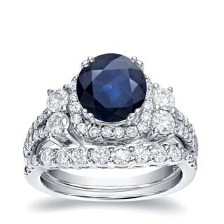 Auriya 14k White Gold 1ct Blue Sapphire and 1 1/3ct TDW Round Diamond Bridal Ring Set (H-I, I1-I2)