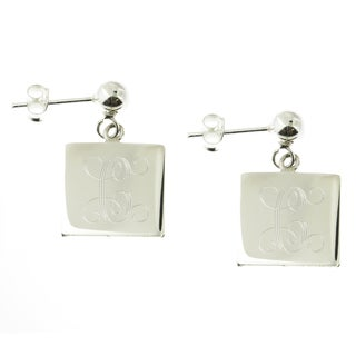 Handmade Sterling Silver High Polish Engraved Square Disc on Ball Post Earrings (Mexico)