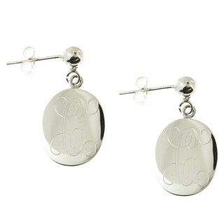 Handmade Sterling Silver High Polish Engraved Oval Disc on Ball Post Earrings (Mexico) (More options available)