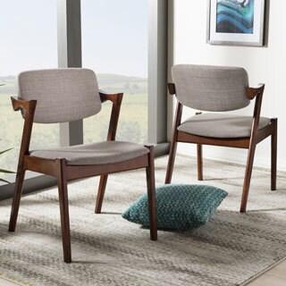 Elegant Mid-century Modern Dark Walnut Finished Upholstered 2-piece Dining Armchair Set