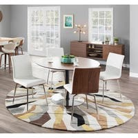 Mason White Swivel Chair Stainless Steel and Walnut Wood (Set of 2)