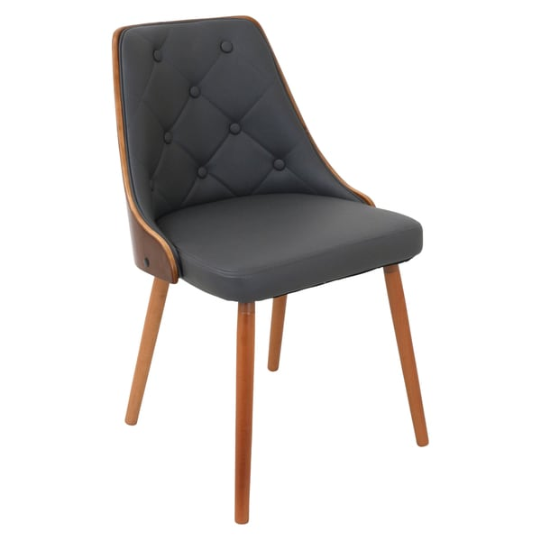 Lumisource Gianna Walnut Wood And Tufted Dining Chair