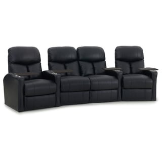 Octane Bolt XS400 Curved with Middle Loveseat/ Power Recline/ Black Premium Leather Home Theater Seating (Row of 4)