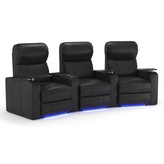 Octane Turbo XL700 Curved/ Manual Recline/ Black Bonded Leather Home Theater Seating (Row of 3)