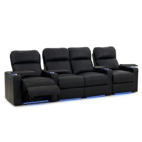Octane Turbo XL700 Power Recline Black Bonded Leather Home Theater Seating (Row of 4)